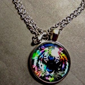Boutique Jewelry - Colorful Majestic Lion Print Silver Necklace